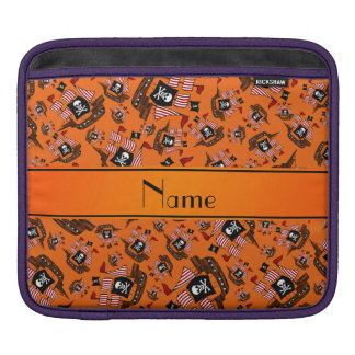 Personalized name orange pirate ships sleeves for iPads