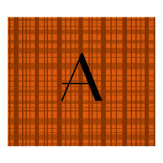 Personalized name orange plaid pattern posters
