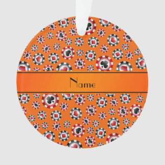 Personalized name orange poker chips