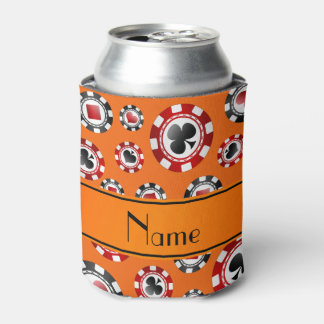 Personalized name orange poker chips can cooler