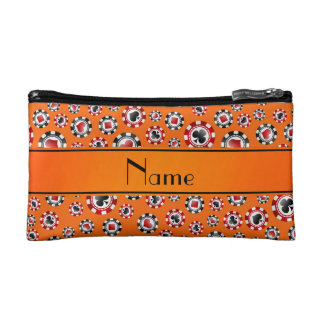 Personalized name orange poker chips cosmetic bag