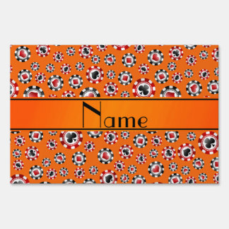 Personalized name orange poker chips lawn signs