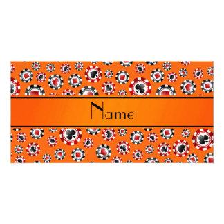 Personalized name orange poker chips customized photo card