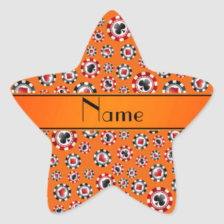 Personalized name orange poker chips sticker