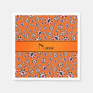 Personalized name orange poker chips paper napkins