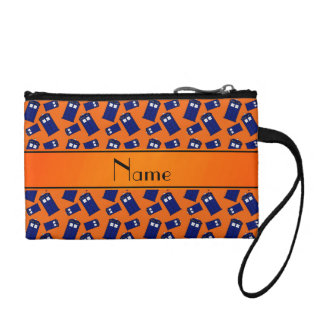 Personalized name orange police box coin wallet