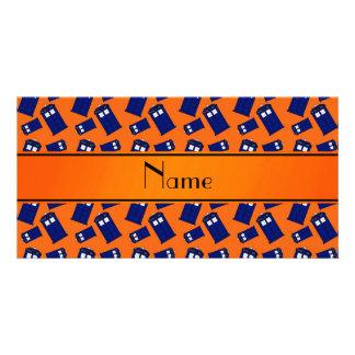 Personalized name orange police box photo greeting card