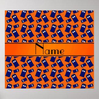 Personalized name orange police box print