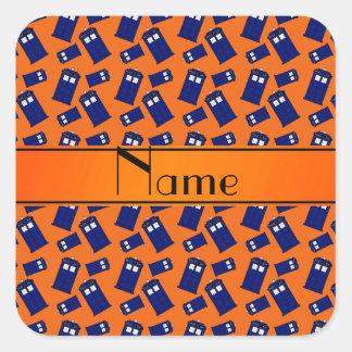 Personalized name orange police box square stickers