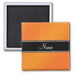 Personalized name orange polka dots 2 inch square magnet