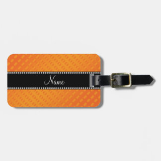Personalized name orange polka dots bag tag