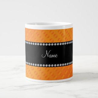 Personalized name orange polka dots large coffee mug