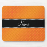 Personalized name orange polka dots mouse pads