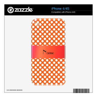 Personalized name Orange polka dots Skins For The iPhone 4