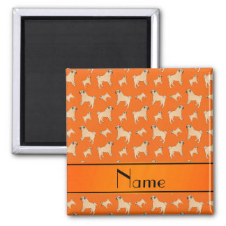 Personalized name orange Pug dogs Magnet