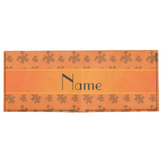 Personalized name orange puzzle billfold wallet