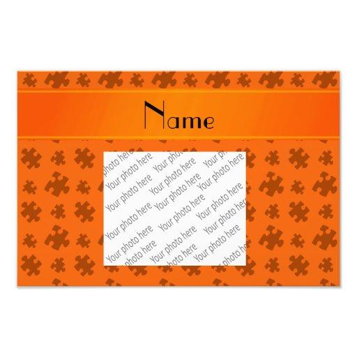 Personalized name orange puzzle art photo