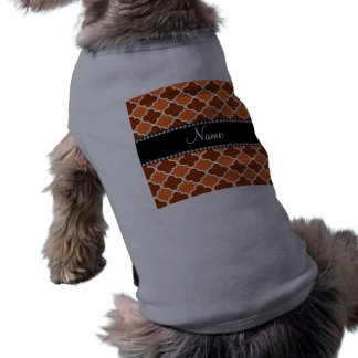 Personalized name Orange quatrefoil pattern Doggie Tee Shirt