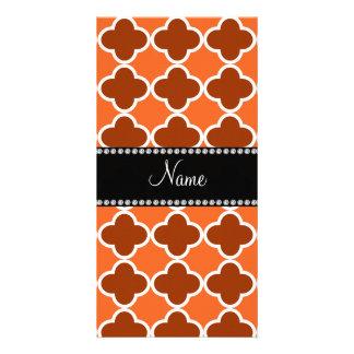 Personalized name Orange quatrefoil pattern Photo Card