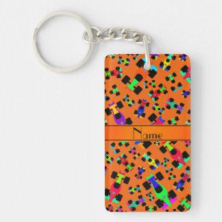 Personalized name orange race car pattern Double-Sided rectangular acrylic keychain