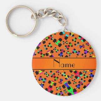 Personalized name orange race car pattern basic round button keychain