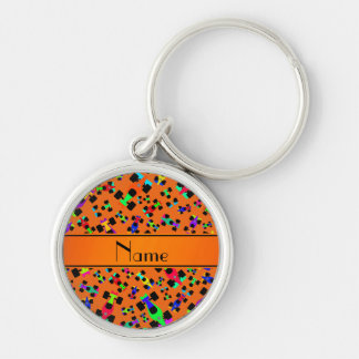 Personalized name orange race car pattern Silver-Colored round keychain