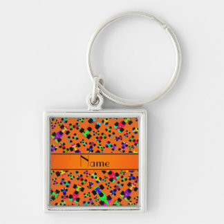 Personalized name orange race car pattern Silver-Colored square keychain