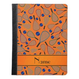 Personalized name orange racquet balls pattern