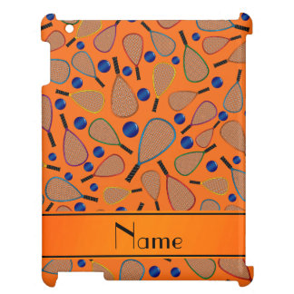 Personalized name orange racquet balls pattern cover for the iPad