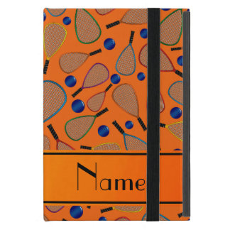 Personalized name orange racquet balls pattern covers for iPad mini
