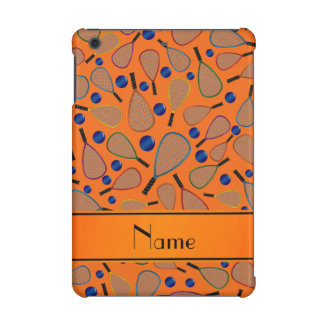 Personalized name orange racquet balls pattern iPad mini cover