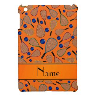 Personalized name orange racquet balls pattern iPad mini covers