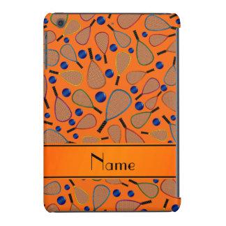 Personalized name orange racquet balls pattern iPad mini retina case