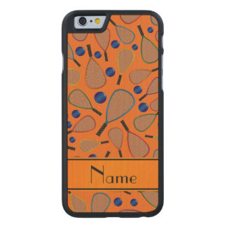 Personalized name orange racquet balls pattern carved® maple iPhone 6 case