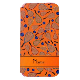 Personalized name orange racquet balls pattern incipio watson™ iPhone 6 wallet case