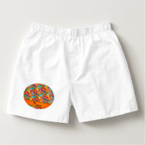 Personalized name orange rainbow blue whales boxers