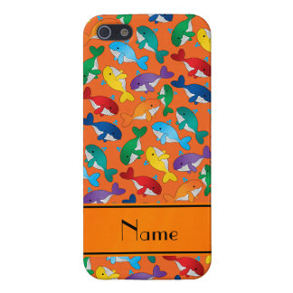 Personalized name orange rainbow blue whales case for iPhone SE/5/5s