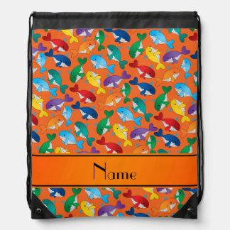 Personalized name orange rainbow blue whales drawstring backpack