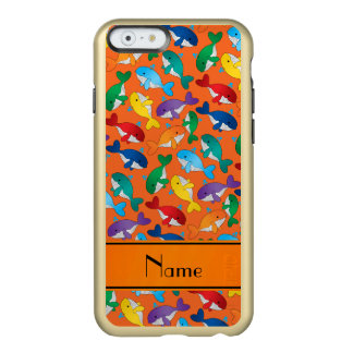 Personalized name orange rainbow blue whales incipio feather shine iPhone 6 case