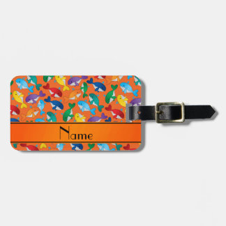 Personalized name orange rainbow blue whales luggage tag