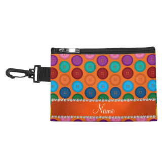 Personalized name orange rainbow buttons pattern accessories bag