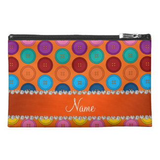 Personalized name orange rainbow buttons pattern travel accessory bag