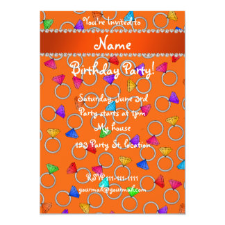 Personalized name orange rainbow diamond rings 5x7 paper invitation card