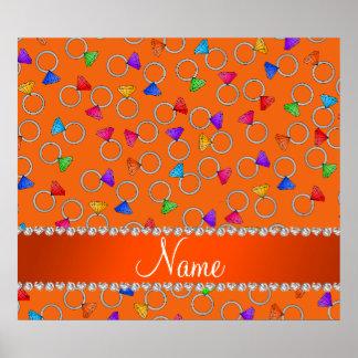 Personalized name orange rainbow diamond rings poster