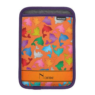 Personalized name orange rainbow dolphins sleeve for iPad mini
