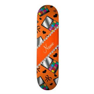 Personalized name orange rainbow eyeshadow skate deck