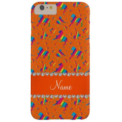 Personalized name orange rainbow horses stars barely there iPhone 6 plus case