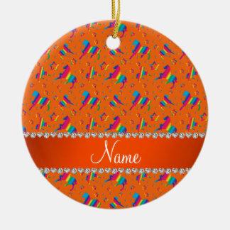 Personalized name orange rainbow horses stars ceramic ornament