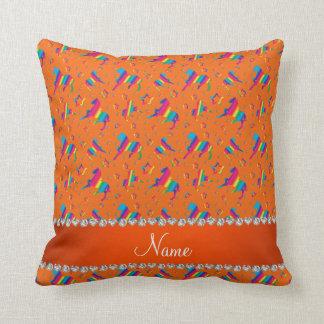 Personalized name orange rainbow horses stars throw pillow