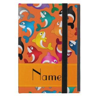 Personalized name orange rainbow killer whales cover for iPad mini